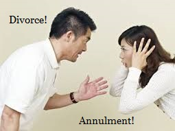 Man and women arguing with the Words Divorce and Annulment.