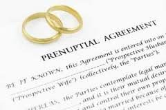 Picture of prenuptial agreement with wedding rings