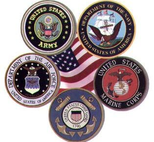 Emblems from all Branches of the US Military